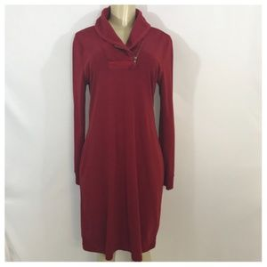 Ralph Lauren Red Cowl Neck Sweater Midi Dress
